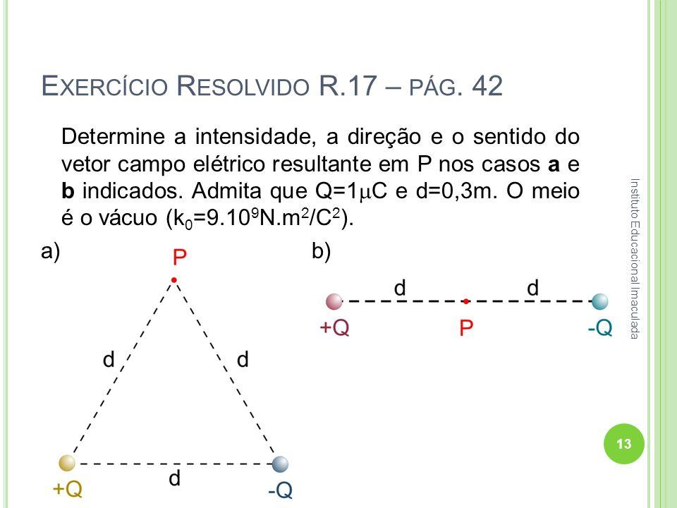E XERCÍCIO R ESOLVIDO R.17 – PÁG. 42 Determine a intensidade, a direção e o sentido do vetor campo elétrico resultante em P nos casos a e b indicados.