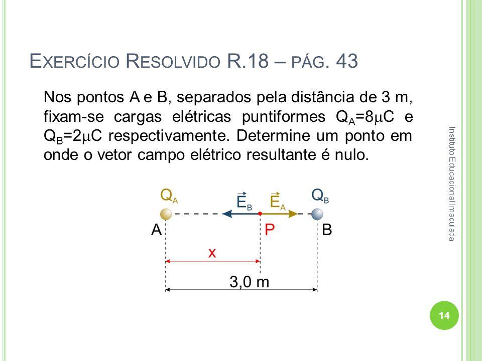 E XERCÍCIO R ESOLVIDO R.18 – PÁG. 43 Nos pontos A e B, separados pela distância de 3 m, fixam-se cargas elétricas puntiformes Q A =8 C e Q B =2 C resp