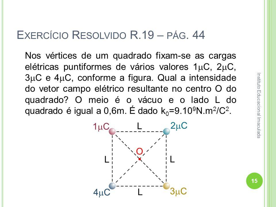 E XERCÍCIO R ESOLVIDO R.19 – PÁG. 44 Nos vértices de um quadrado fixam-se as cargas elétricas puntiformes de vários valores 1 C, 2 C, 3 C e 4 C, confo