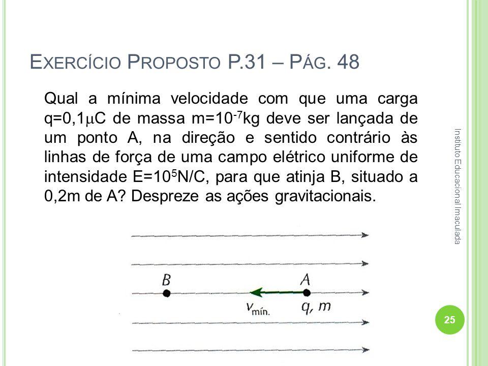 E XERCÍCIO P ROPOSTO P.31 – P ÁG. 48 Qual a mínima velocidade com que uma carga q=0,1 C de massa m=10 -7 kg deve ser lançada de um ponto A, na direção
