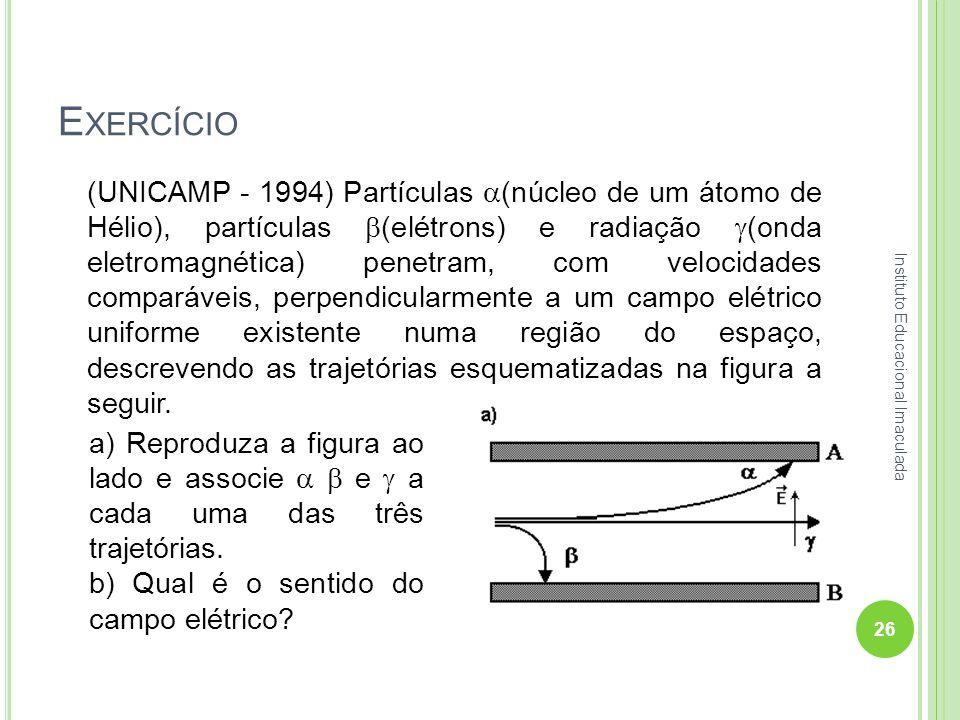 E XERCÍCIO (UNICAMP - 1994) Partículas (núcleo de um átomo de Hélio), partículas (elétrons) e radiação (onda eletromagnética) penetram, com velocidade