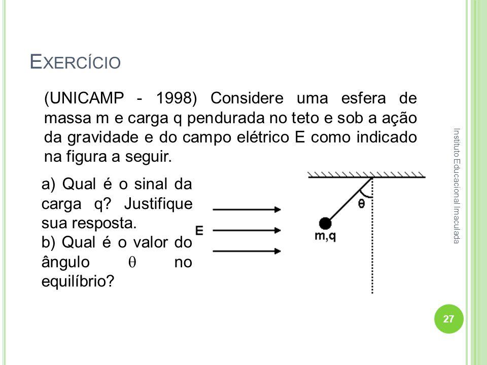 E XERCÍCIO (UNICAMP - 1998) Considere uma esfera de massa m e carga q pendurada no teto e sob a ação da gravidade e do campo elétrico E como indicado