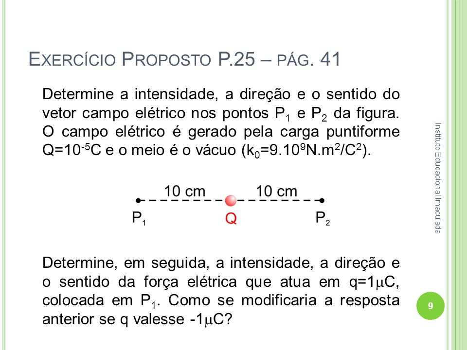 E XERCÍCIO P ROPOSTO P.25 – PÁG. 41 Determine a intensidade, a direção e o sentido do vetor campo elétrico nos pontos P 1 e P 2 da figura. O campo elé