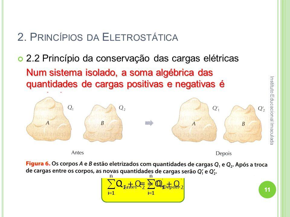 2. P RINCÍPIOS DA E LETROSTÁTICA 2.2 Princípio da conservação das cargas elétricas Num sistema isolado, a soma algébrica das quantidades de cargas pos