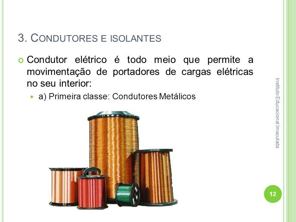 3. C ONDUTORES E ISOLANTES Condutor elétrico é todo meio que permite a movimentação de portadores de cargas elétricas no seu interior: a) Primeira cla