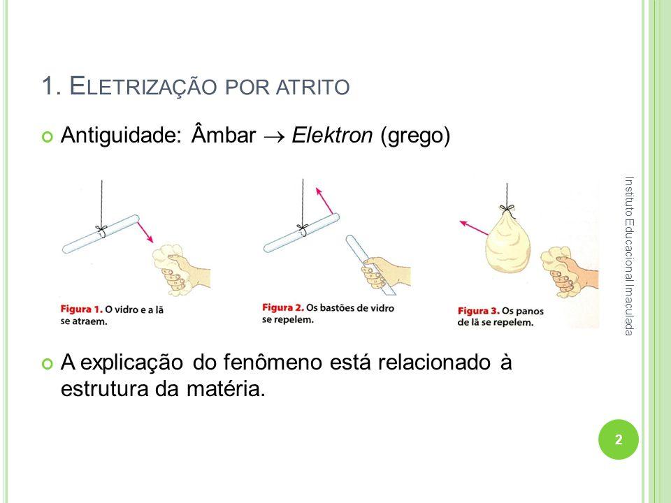 1. E LETRIZAÇÃO POR ATRITO Antiguidade: Âmbar Elektron (grego) A explicação do fenômeno está relacionado à estrutura da matéria. 2 Instituto Educacion