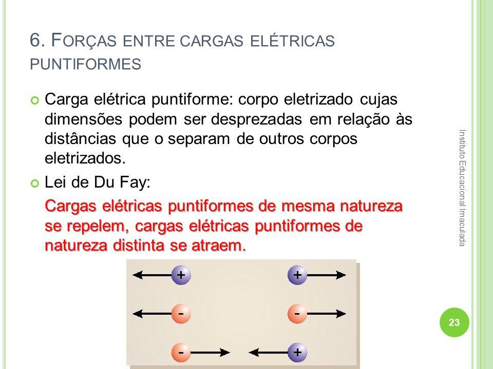 6. F ORÇAS ENTRE CARGAS ELÉTRICAS PUNTIFORMES Carga elétrica puntiforme: corpo eletrizado cujas dimensões podem ser desprezadas em relação às distânci