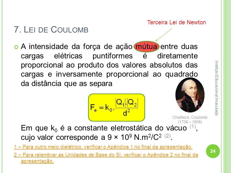 7. L EI DE C OULOMB A intensidade da força de ação mútua entre duas cargas elétricas puntiformes é diretamente proporcional ao produto dos valores abs