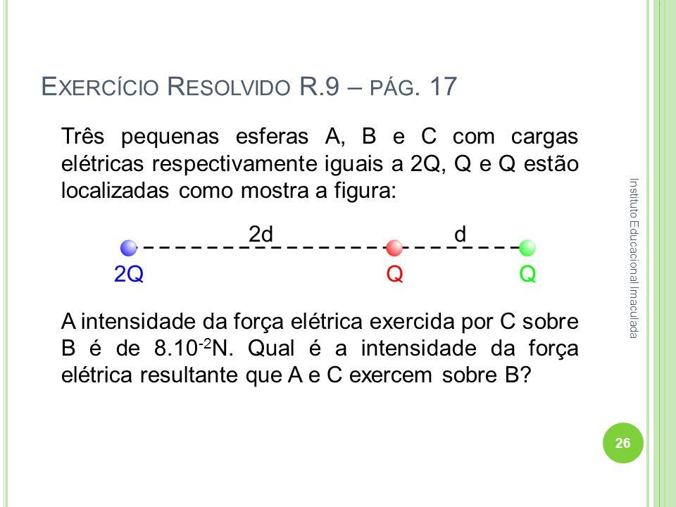 E XERCÍCIO R ESOLVIDO R.9 – PÁG. 17 Três pequenas esferas A, B e C com cargas elétricas respectivamente iguais a 2Q, Q e Q estão localizadas como most
