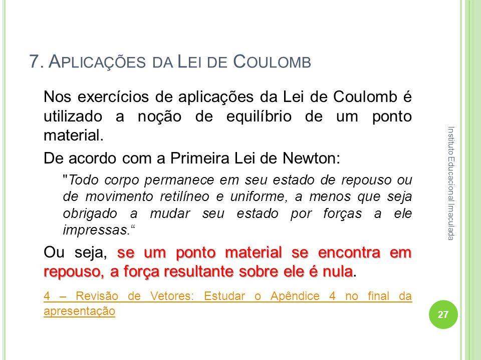 7. A PLICAÇÕES DA L EI DE C OULOMB Nos exercícios de aplicações da Lei de Coulomb é utilizado a noção de equilíbrio de um ponto material. De acordo co