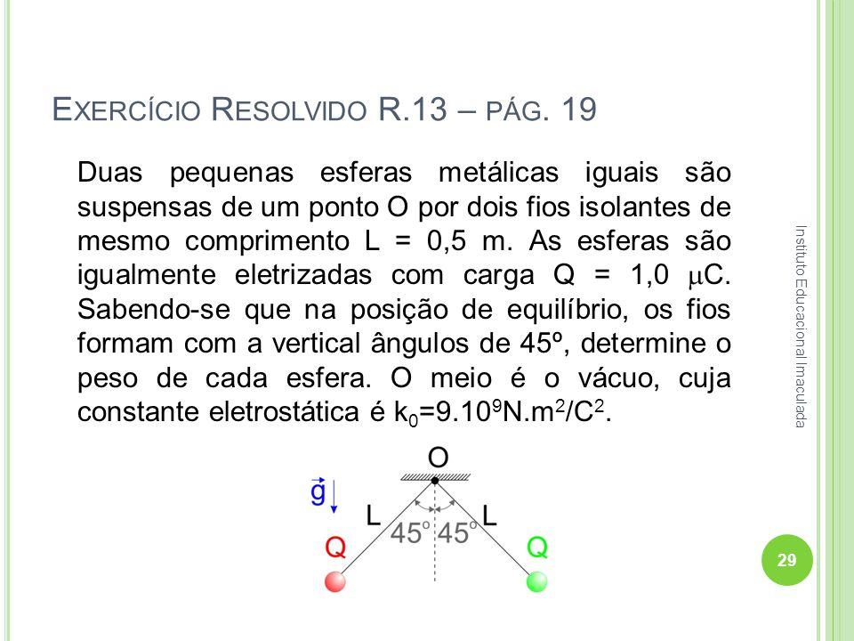 E XERCÍCIO R ESOLVIDO R.13 – PÁG. 19 Duas pequenas esferas metálicas iguais são suspensas de um ponto O por dois fios isolantes de mesmo comprimento L