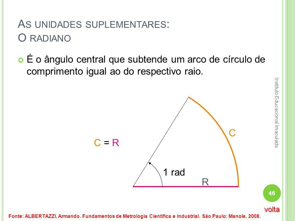 C A S UNIDADES SUPLEMENTARES : O RADIANO É o ângulo central que subtende um arco de círculo de comprimento igual ao do respectivo raio. R 1 rad C = R
