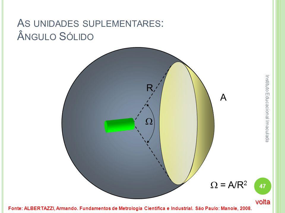 A S UNIDADES SUPLEMENTARES : Â NGULO S ÓLIDO R A = A/R 2 Fonte: ALBERTAZZI, Armando. Fundamentos de Metrologia Científica e Industrial. São Paulo: Man