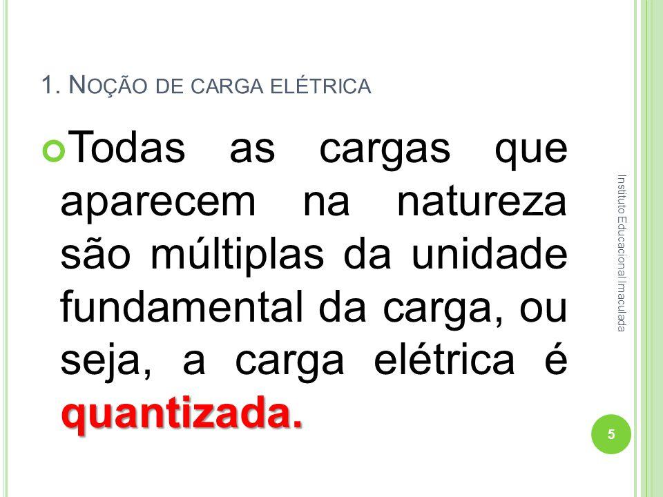 1. N OÇÃO DE CARGA ELÉTRICA quantizada. Todas as cargas que aparecem na natureza são múltiplas da unidade fundamental da carga, ou seja, a carga elétr