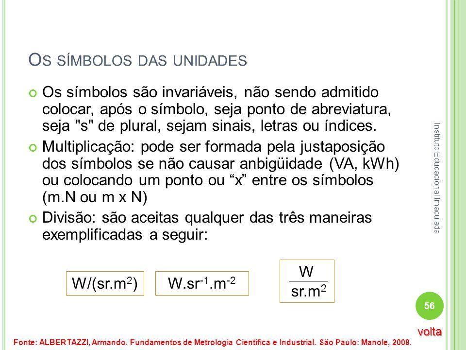 O S SÍMBOLOS DAS UNIDADES Os símbolos são invariáveis, não sendo admitido colocar, após o símbolo, seja ponto de abreviatura, seja
