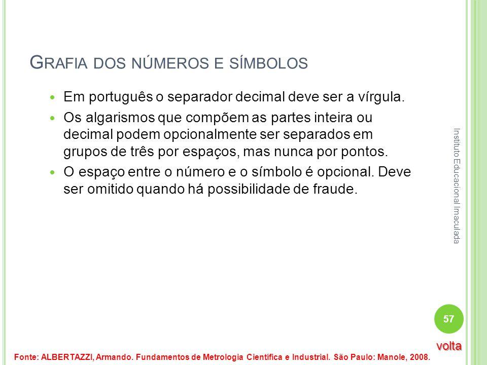 G RAFIA DOS NÚMEROS E SÍMBOLOS Em português o separador decimal deve ser a vírgula. Os algarismos que compõem as partes inteira ou decimal podem opcio