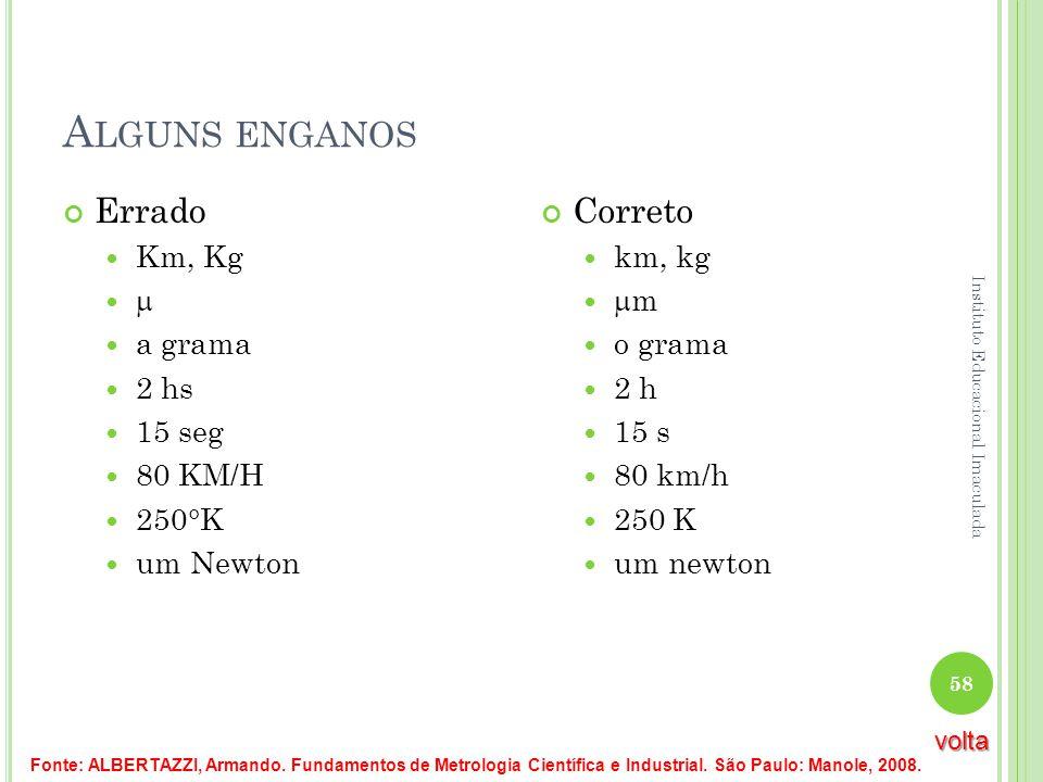A LGUNS ENGANOS Errado Km, Kg a grama 2 hs 15 seg 80 KM/H 250°K um Newton Correto km, kg m o grama 2 h 15 s 80 km/h 250 K um newton Fonte: ALBERTAZZI,