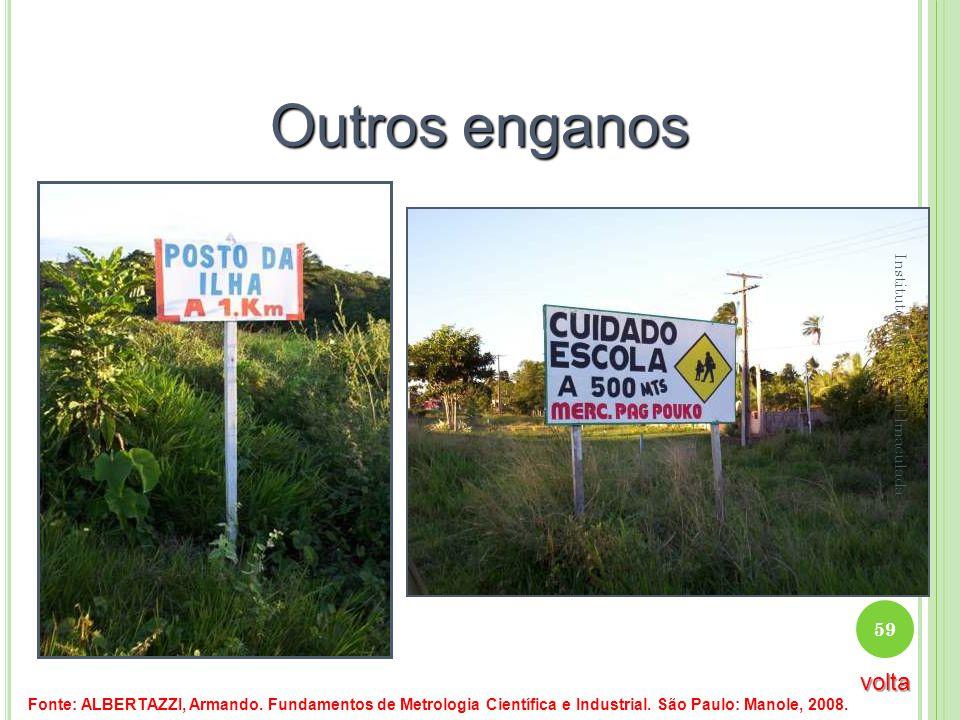 Outros enganos Fonte: ALBERTAZZI, Armando. Fundamentos de Metrologia Científica e Industrial. São Paulo: Manole, 2008. 59 Instituto Educacional Imacul
