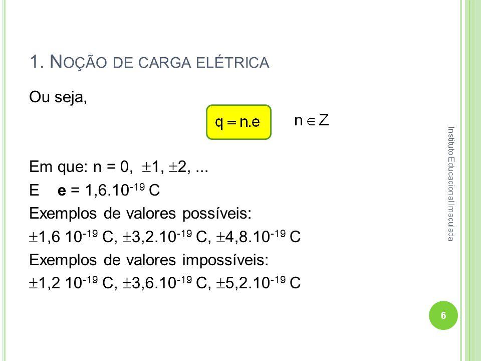 1. N OÇÃO DE CARGA ELÉTRICA Ou seja, Em que: n = 0, 1, 2,... E e = 1,6.10 -19 C Exemplos de valores possíveis: 1,6 10 -19 C, 3,2.10 -19 C, 4,8.10 -19