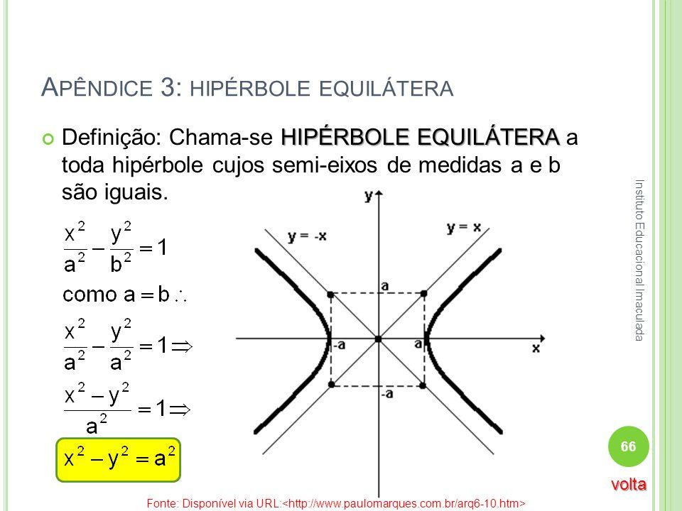 A PÊNDICE 3: HIPÉRBOLE EQUILÁTERA HIPÉRBOLE EQUILÁTERA Definição: Chama-se HIPÉRBOLE EQUILÁTERA a toda hipérbole cujos semi-eixos de medidas a e b são
