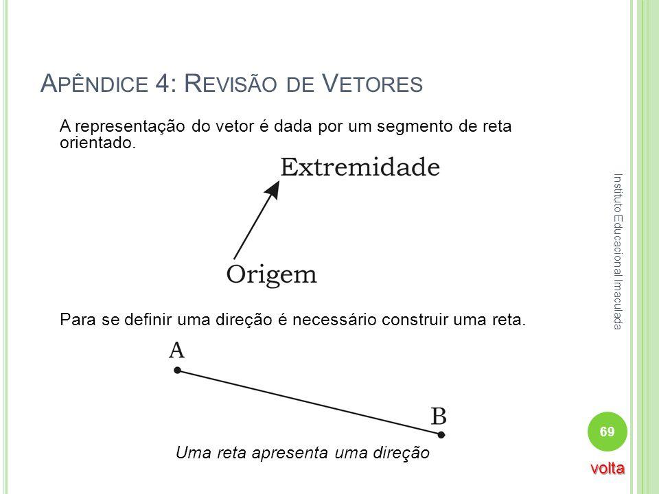 A PÊNDICE 4: R EVISÃO DE V ETORES A representação do vetor é dada por um segmento de reta orientado. Para se definir uma direção é necessário construi