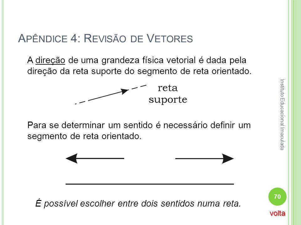 A PÊNDICE 4: R EVISÃO DE V ETORES A direção de uma grandeza física vetorial é dada pela direção da reta suporte do segmento de reta orientado. Para se