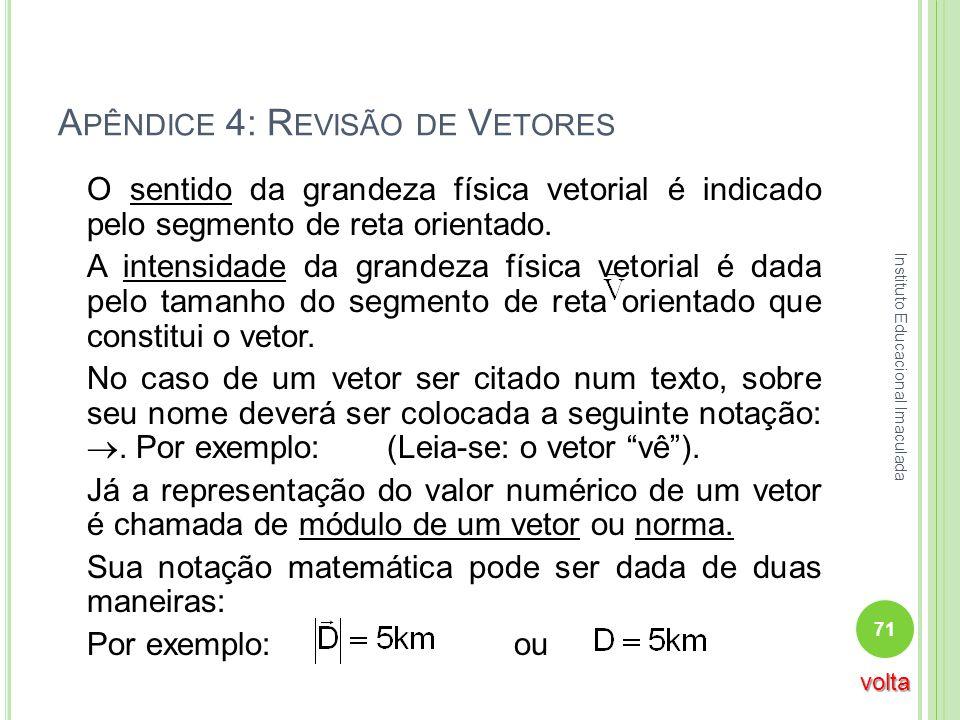 A PÊNDICE 4: R EVISÃO DE V ETORES O sentido da grandeza física vetorial é indicado pelo segmento de reta orientado. A intensidade da grandeza física v