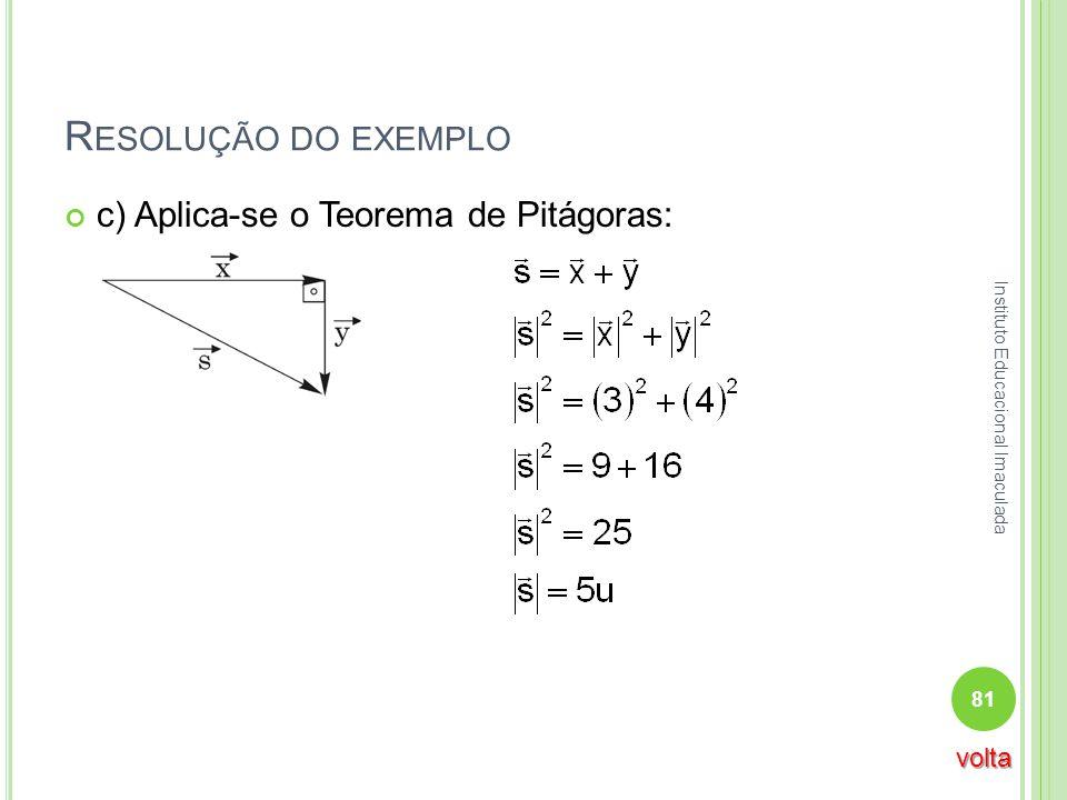 R ESOLUÇÃO DO EXEMPLO c) Aplica-se o Teorema de Pitágoras: 81 Instituto Educacional Imaculada volta