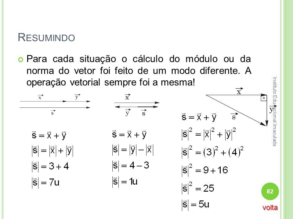 R ESUMINDO Para cada situação o cálculo do módulo ou da norma do vetor foi feito de um modo diferente. A operação vetorial sempre foi a mesma! 82 Inst