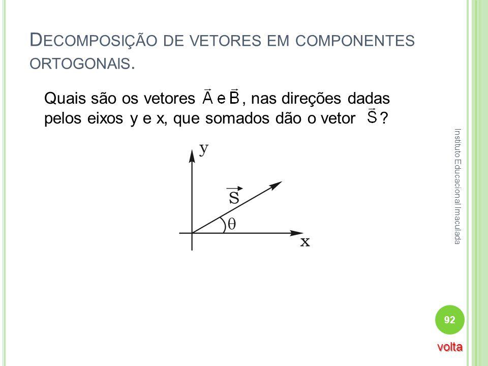 D ECOMPOSIÇÃO DE VETORES EM COMPONENTES ORTOGONAIS. Quais são os vetores, nas direções dadas pelos eixos y e x, que somados dão o vetor ? 92 Instituto