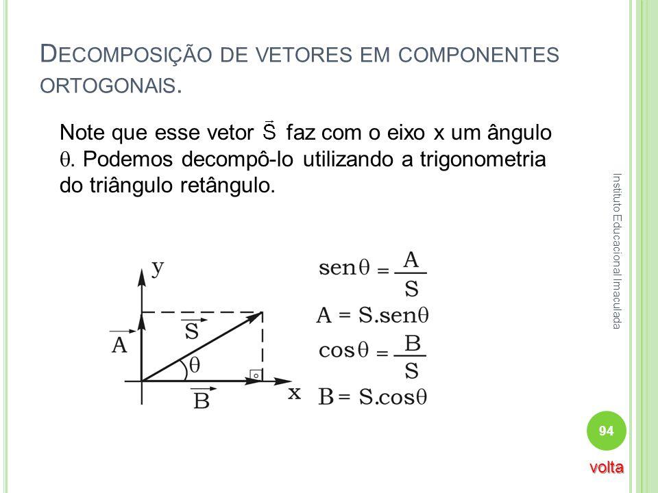 D ECOMPOSIÇÃO DE VETORES EM COMPONENTES ORTOGONAIS. Note que esse vetor faz com o eixo x um ângulo. Podemos decompô-lo utilizando a trigonometria do t