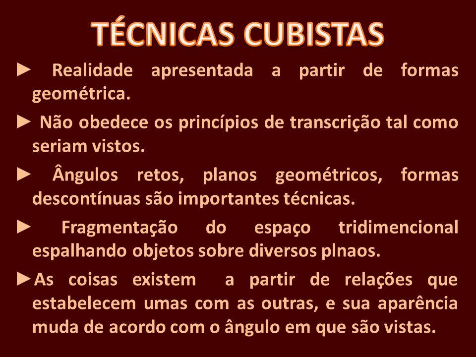 Realidade apresentada a partir de formas geométrica. Não obedece os princípios de transcrição tal como seriam vistos. Ângulos retos, planos geométrico