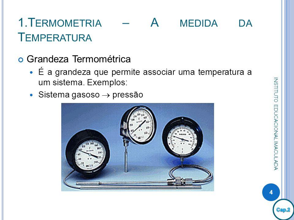 1.T ERMOMETRIA – A MEDIDA DA T EMPERATURA Grandeza Termométrica É a grandeza que permite associar uma temperatura a um sistema. Exemplos: Sistema gaso