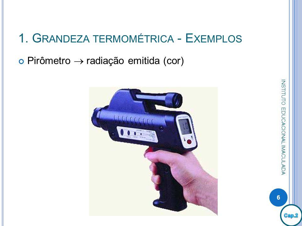 1. G RANDEZA TERMOMÉTRICA - E XEMPLOS Pirômetro radiação emitida (cor) 6 INSTITUTO EDUCACIONAL IMACULADA
