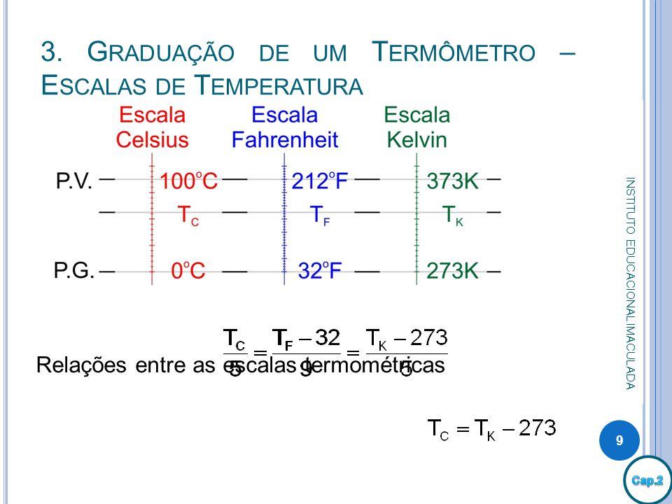 3. G RADUAÇÃO DE UM T ERMÔMETRO – E SCALAS DE T EMPERATURA 9 INSTITUTO EDUCACIONAL IMACULADA Relações entre as escalas termométricas