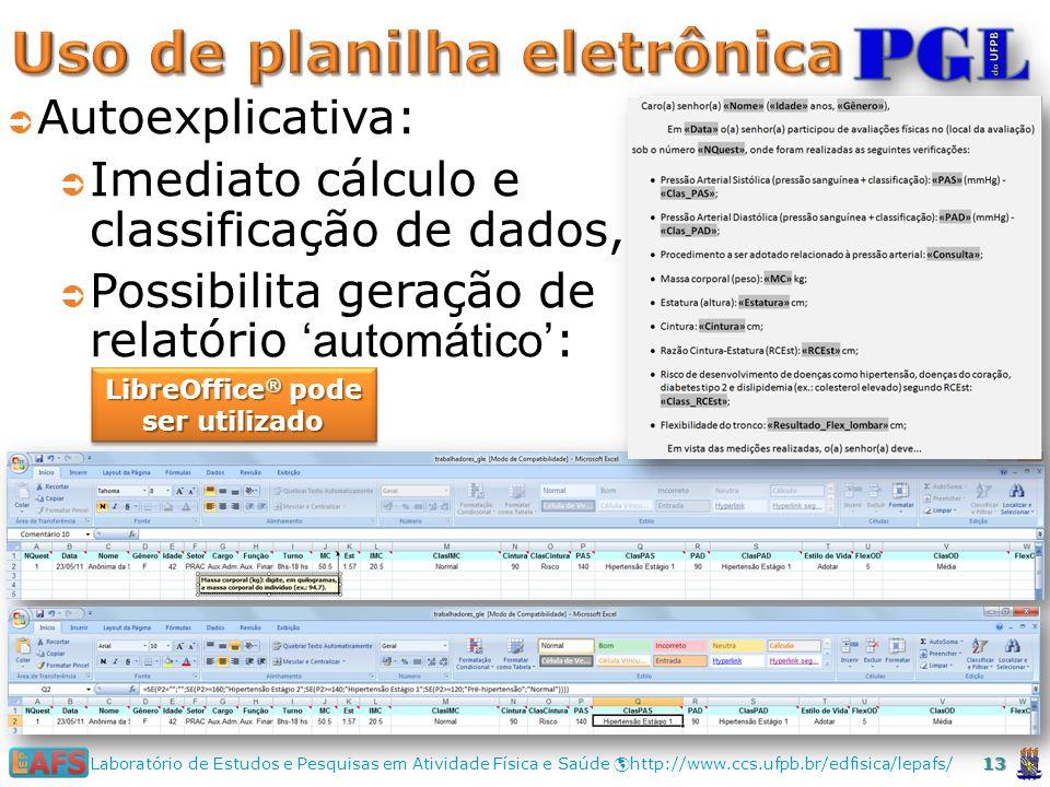 13 Laboratório de Estudos e Pesquisas em Atividade Física e Saúde http://www.ccs.ufpb.br/edfisica/lepafs/ LibreOffice ® pode ser utilizado Autoexplicativa: Imediato cálculo e classificação de dados, Possibilita geração de relatório automático :
