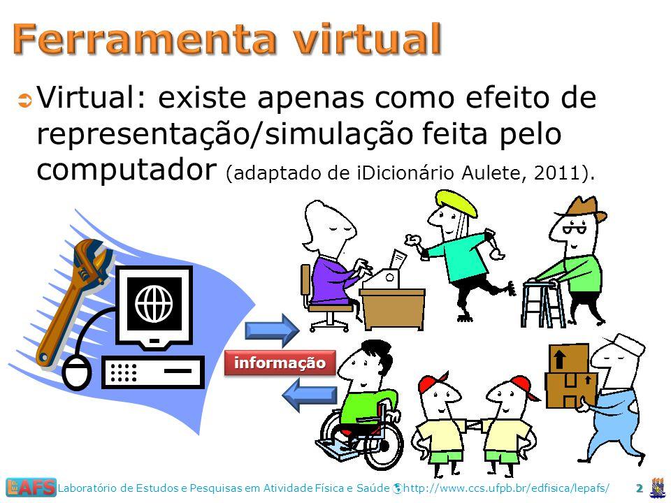 2 Laboratório de Estudos e Pesquisas em Atividade Física e Saúde http://www.ccs.ufpb.br/edfisica/lepafs/ Virtual: existe apenas como efeito de representação/simulação feita pelo computador (adaptado de iDicionário Aulete, 2011).
