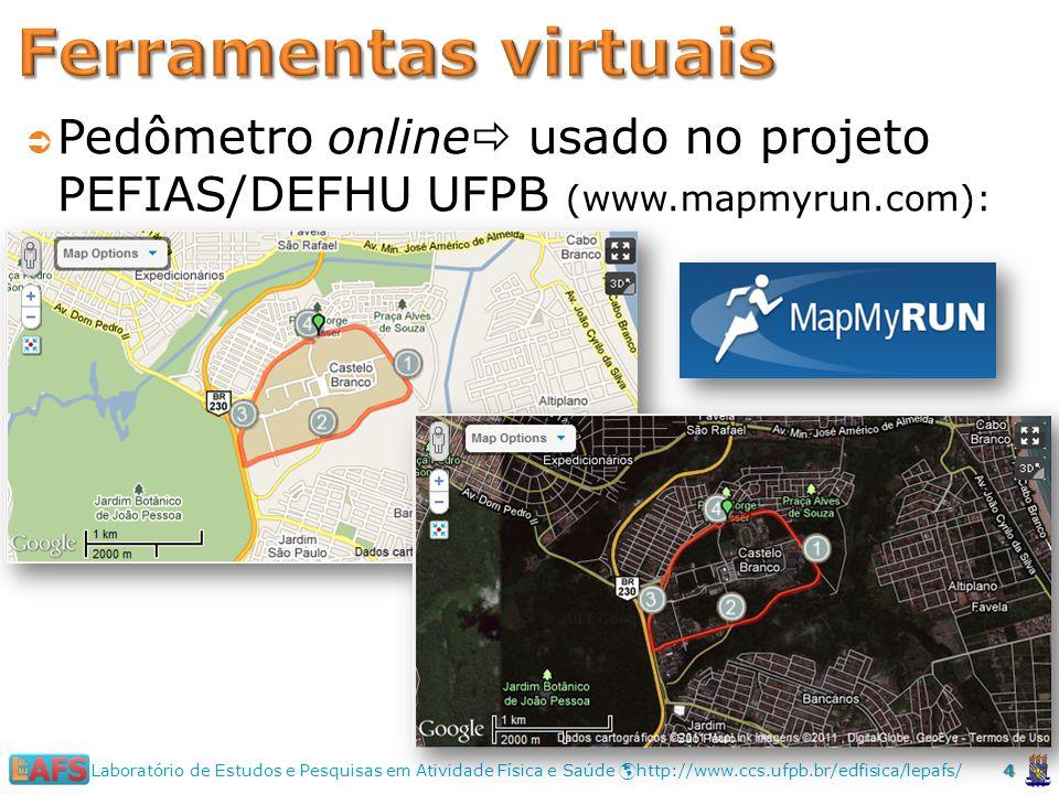 Pedômetro online usado no projeto PEFIAS/DEFHU UFPB (www.mapmyrun.com): 4 Laboratório de Estudos e Pesquisas em Atividade Física e Saúde http://www.ccs.ufpb.br/edfisica/lepafs/