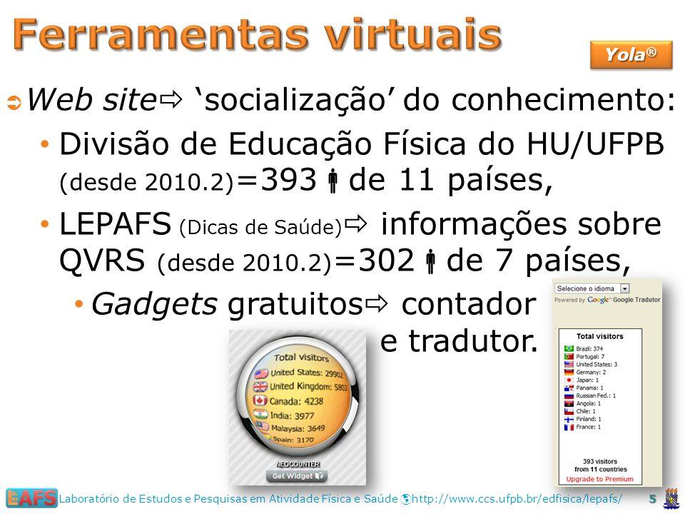Web site socialização do conhecimento: Divisão de Educação Física do HU/UFPB (desde 2010.2) =393 de 11 países, LEPAFS (Dicas de Saúde) informações sobre QVRS (desde 2010.2) =302 de 7 países, Gadgets gratuitos contador e tradutor.