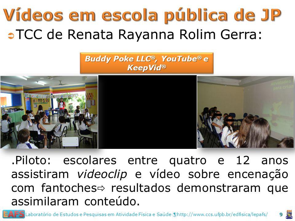 9 Laboratório de Estudos e Pesquisas em Atividade Física e Saúde http://www.ccs.ufpb.br/edfisica/lepafs/ TCC de Renata Rayanna Rolim Gerra:.Piloto: escolares entre quatro e 12 anos assistiram videoclip e vídeo sobre encenação com fantoches resultados demonstraram que assimilaram conteúdo.