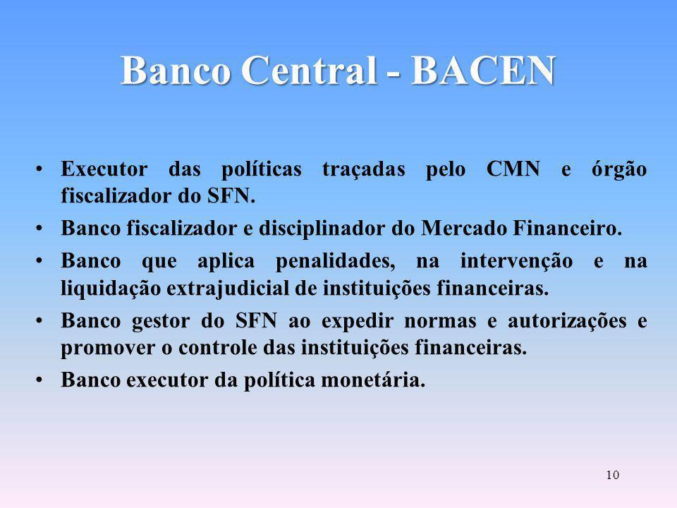 Conselho Monetário Nacional CMN FINALIDADE PRINCIPAL: FORMULAÇÃO DE TODA A POLÍTICA DE MOEDA E DO CRÉDITO, OBJETIVANDO ATENDER AOS INTERESSES ECONÔMICOS E SOCIAIS DO PAÍS.