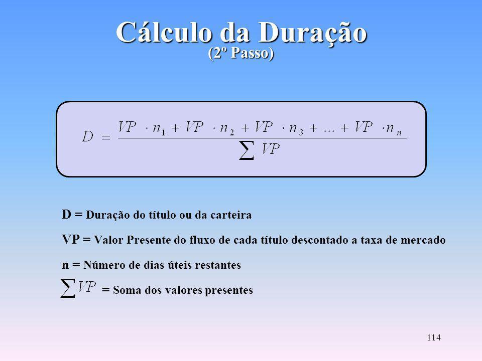 113 Cálculo do Valor Presente (1º Passo) VP = Valor Presente i = Taxa de mercado do título na data do cálculo (taxa na forma unitária) n = Número de dias úteis restantes até o resgate