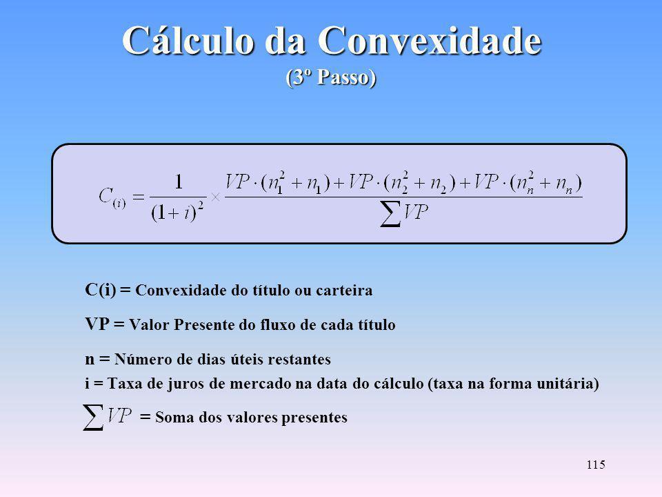 114 Cálculo da Duração (2º Passo) D = Duração do título ou da carteira VP = Valor Presente do fluxo de cada título descontado a taxa de mercado n = Número de dias úteis restantes = Soma dos valores presentes