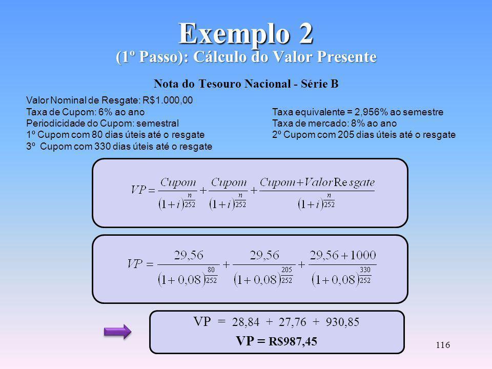 115 Cálculo da Convexidade (3º Passo) C(i) = Convexidade do título ou carteira VP = Valor Presente do fluxo de cada título n = Número de dias úteis restantes i = Taxa de juros de mercado na data do cálculo (taxa na forma unitária) = Soma dos valores presentes