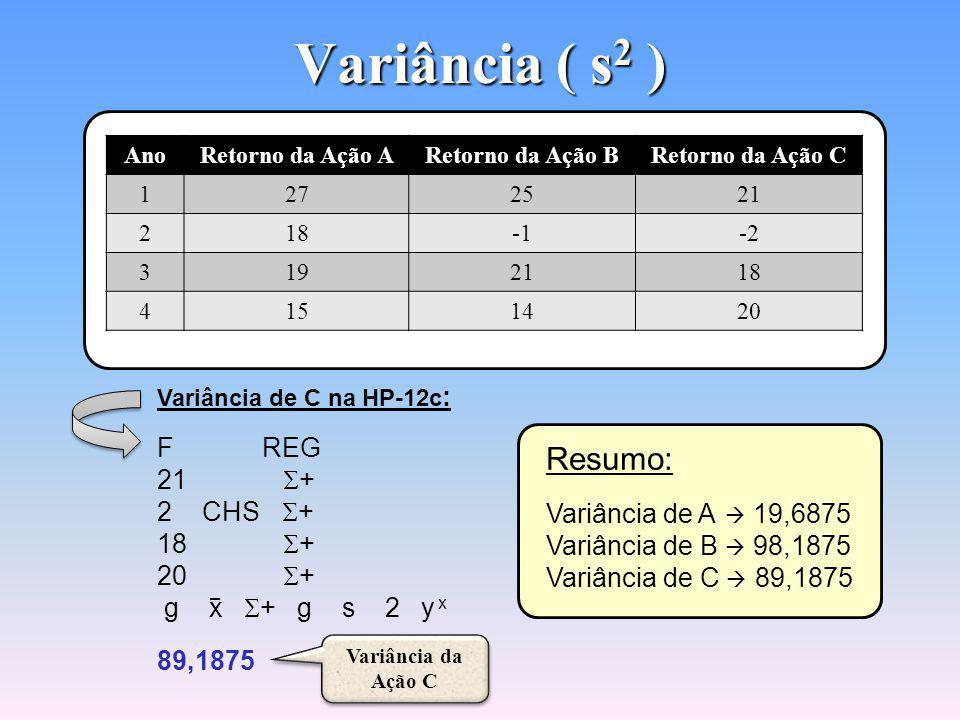 Variância ( s 2 ) Variância de A na HP-12c : F REG 27 + 18 + 19 + 15 + g x + g s 2 y x 19,6875 Variância da Ação A Variância da Ação A Variância de B na HP-12c : F REG 25 + 1 CHS + 21 + 14 + g x + g s 2 y x 98,1875 Variância da Ação B Variância da Ação B AnoRetorno da Ação ARetorno da Ação BRetorno da Ação C 1272521 218-2 3192118 4151420