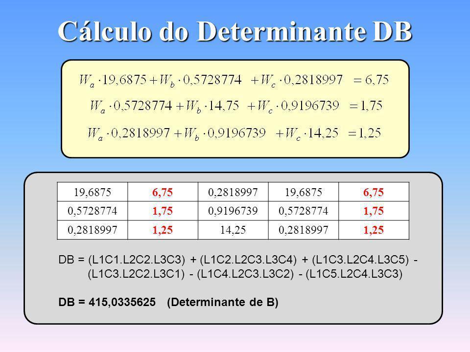 Cálculo do Determinante DA 6,750,57287740,28189976,750,5728774 1,7514,750,91967391,7514,75 1,250,919673914,251,250,9196739 DA = (L1C1.L2C2.L3C3) + (L1C2.L2C3.L3C4) + (L1C3.L2C4.L3C5) - (L1C3.L2C2.L3C1) - (L1C4.L2C3.L3C2) - (L1C5.L2C4.L3C3) DA = 1.394,685092 (Determinante de A)
