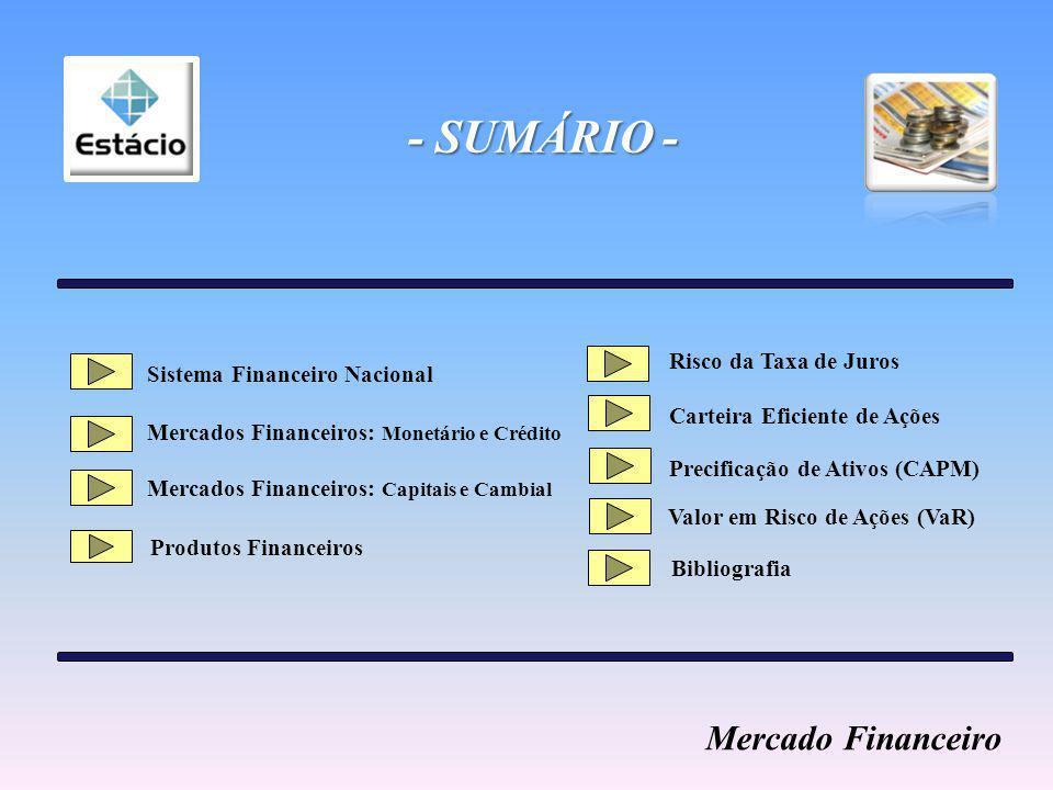 - SUMÁRIO - Sistema Financeiro Nacional Mercados Financeiros: Monetário e Crédito Bibliografia Mercados Financeiros: Capitais e Cambial Produtos Financeiros Risco da Taxa de Juros Carteira Eficiente de Ações Precificação de Ativos (CAPM) Valor em Risco de Ações (VaR) Mercado Financeiro