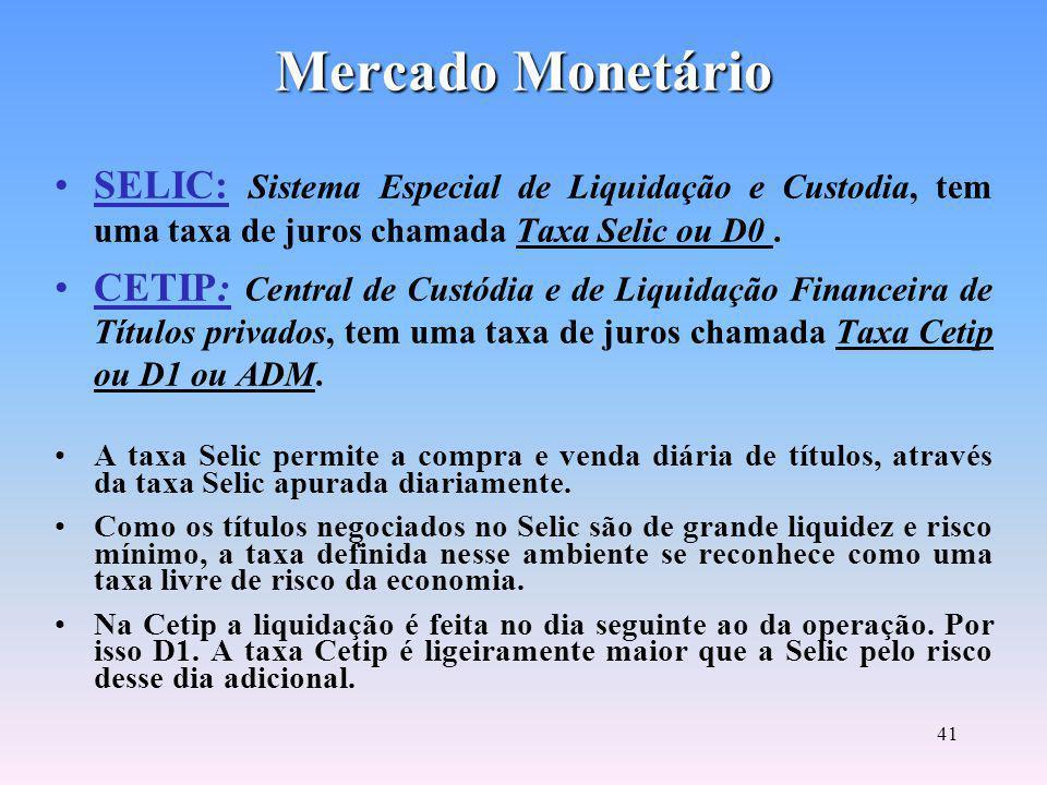 40 Mercado Monetário Envolve operações de curto e curtíssimo prazo.