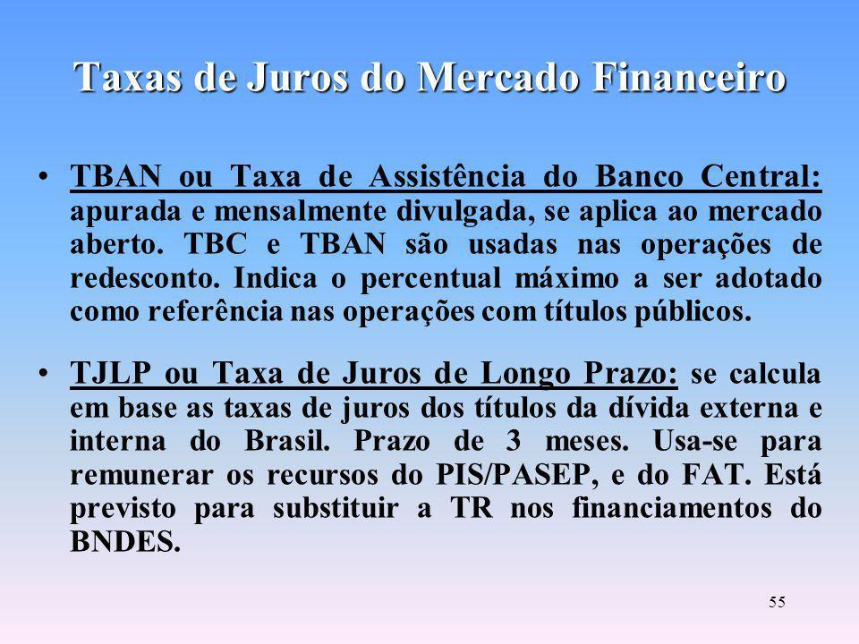 54 Taxas de Juros do Mercado Financeiro TR ou Taxa Referencial: apurada e mensalmente anunciada pelo governo, calcula-se pela remuneração média mensal (taxas prefixadas) dos CDB/RDB operados pelos maiores bancos.