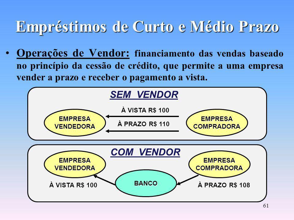 60 Empréstimos de Curto e Médio Prazo Operações Hot Money: empréstimos de curto e curtíssimo prazo (de 1 à 7 dias), para cobrir necessidades permanentes de caixa das empresas.